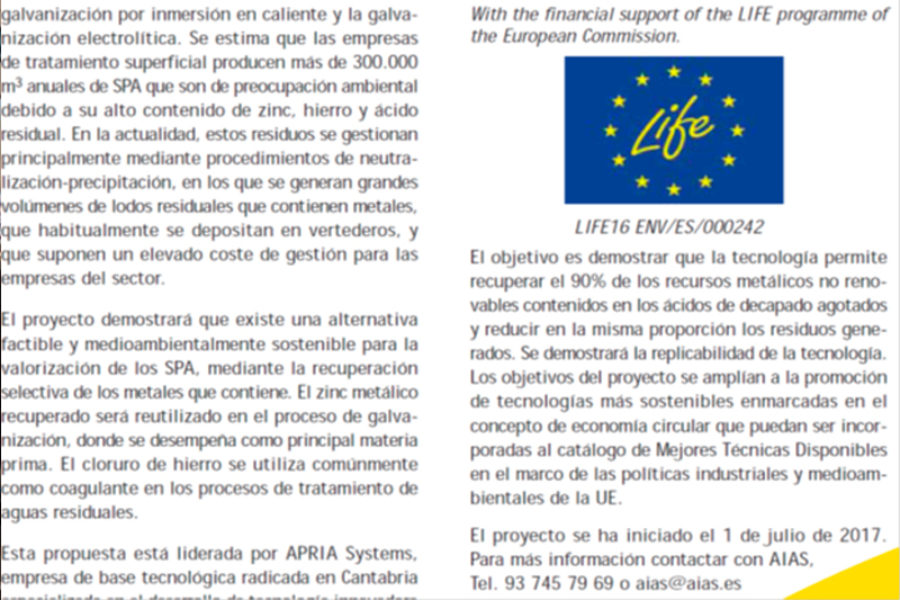 Project LIFE-2-ACID presented in AIAS bulletin